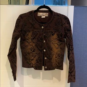 Small Brown Jean Jacket with Velvet Flocking
